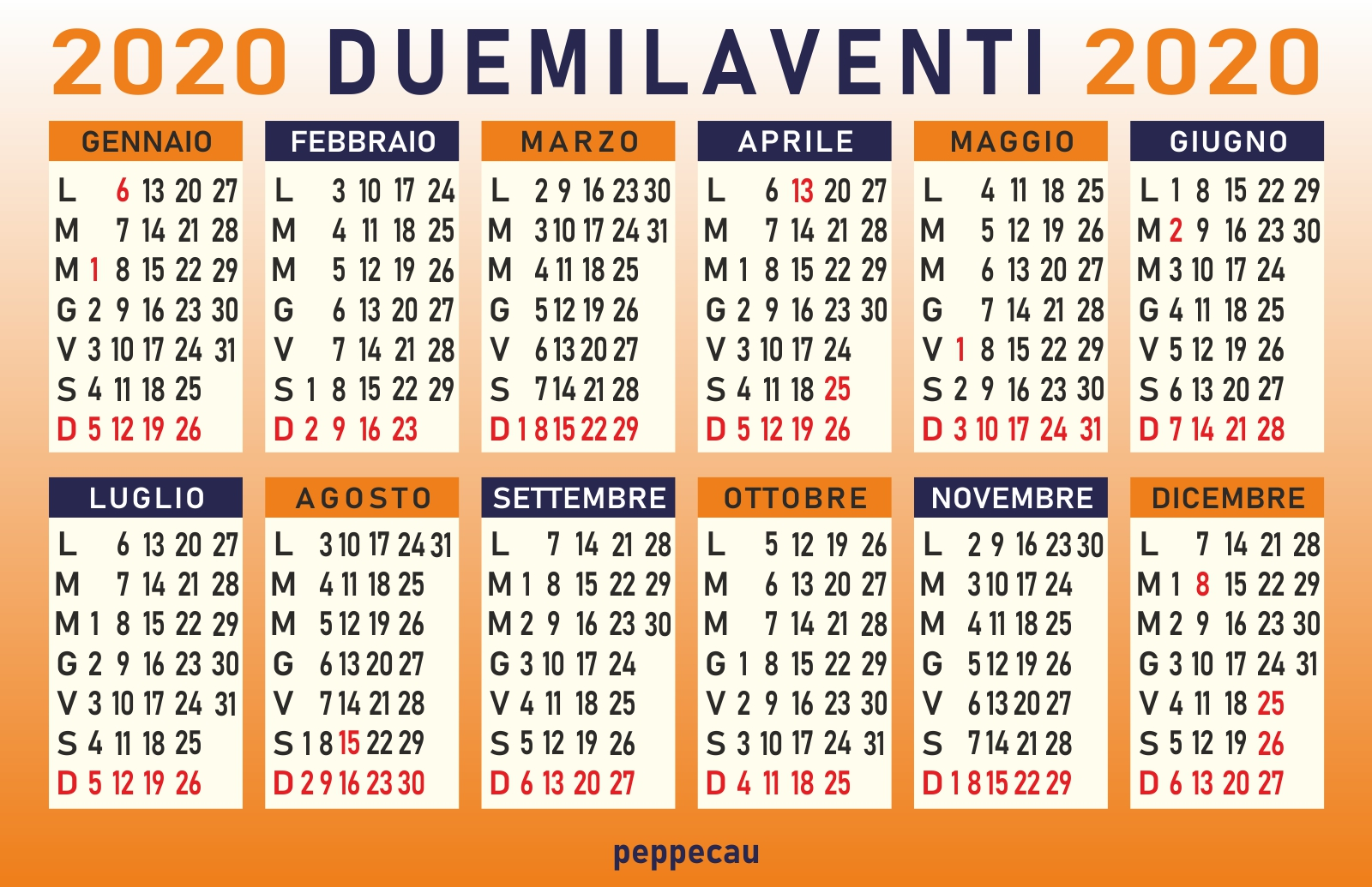 Calendario 2020 Tascabile.Calendario Peppecau Calendario 2020 Mensile